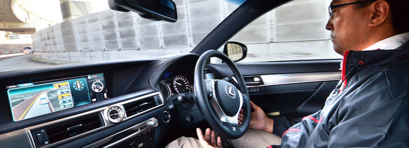 Japan's auto giant Toyota demonstrates autonomous driving with a Lexus GS450h on the Tokyo metropolitan highway during Toyota's advanced technology presentation in Tokyo on October 6, 2015. Toyota is expecting to commercialise autonomous vehicles before the Tokyo Olympics in 2020.     AFP PHOTO / Yoshikazu TSUNO        (Photo credit should read YOSHIKAZU TSUNO/AFP/Getty Images)