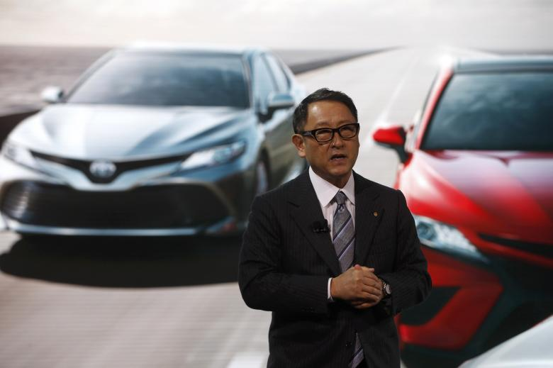 Akio Toyoda, president of Toyota Motor Corporation, speaks during the North American International Auto Show in Detroit, Michigan, U.S., January 9, 2017. REUTERS/Mark Blinch